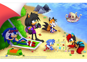 .:At the beach collab:. by FeneksiA