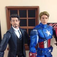 Tony Stark and Steve Rogers head sculpts by hunterknightcustoms