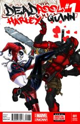 Deadpool Hearts Harley by django-red