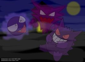 Gastly, Haunter and Gengar