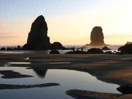Ocean Tidal Pools at Sunset by FoxStox