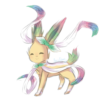 [Fusion] Sylveon and Leafeon by PunzieFlower2002