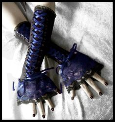 Velvet Midnight Corset Laced Up Arm Warmers by ZenAndCoffee