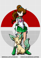 Sailor Jupiter and Leafeon by Shinoharaa