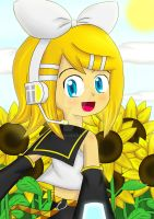 Kagamine Rin - At The Sunflower Field by irzhie