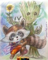 Kid Rocket and Groot by shaunriaz