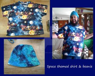 Space shirt and beanie by ShelandryStudio
