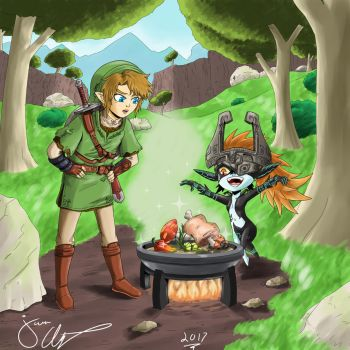 Link and Midna cooking by jkalsop