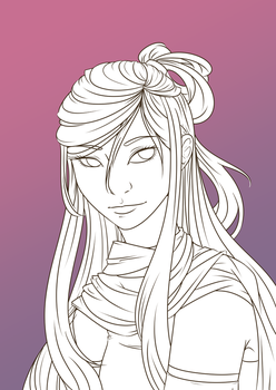 Miyako Headshot Commission Lineart WIP by GossArt1323