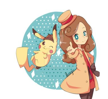 Lady Layton and Detective Pikachu by Harunyax3