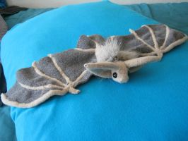 Pallid bat plush by Silver-Sundog