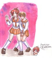Leyahell and Gaeth in skirts by Bisc-chan
