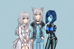Comm - Yukihime, Tesai and Celeste by Juliana1121
