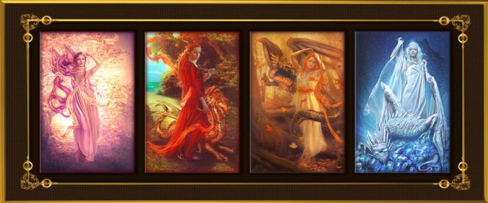 Four seasons with dragons by PerlaMarina