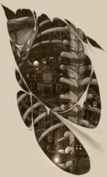 Steampunk biomech back Tattoo design by CopperAge