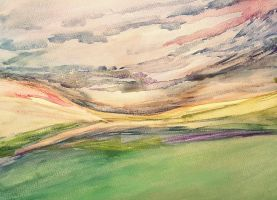 Abstract Watercolour Fields by nicolapearsonart