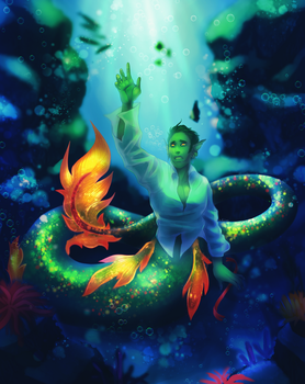 [HS AU] Under the Sea by Goddess-In-Green