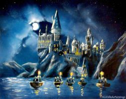 Hogwarts by night by WormholePaintings