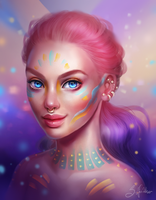 Candy Colour Portrait by SandraWinther