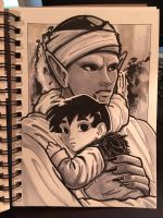Inktober Day #4: Namekian and Child by hollarity