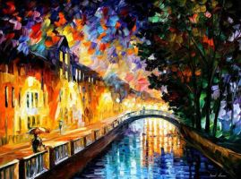 Evening Rain by Leonid Afremov by Leonidafremov