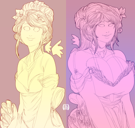 Elika and Linds wedding linework. by EICHH-EMMM