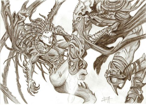 Zeratul vs Kerrigan by RainaAudron
