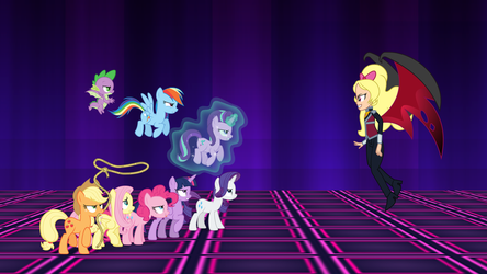 The Mane 7 vs. Princess Dark Matter by DashieMLPFiM