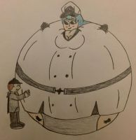 (Art Trade) Mario hugging an Inflated Esdeath by WarioTheInflator