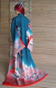 BJD kimono, The Glory of Flowers and Wisteria by InarisansCrafts