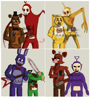 *FNaF meet Slendytubbies* ALL SET by JulieDraw2046