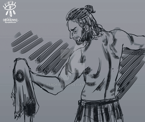 Alexios doing striptease by Pendraagon