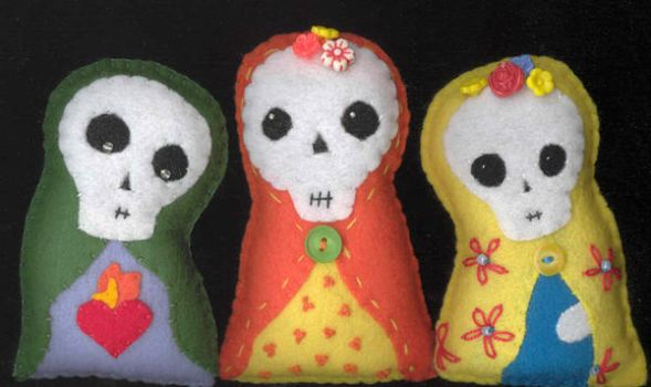 3 Day of the Dead Dolls by verukadolls