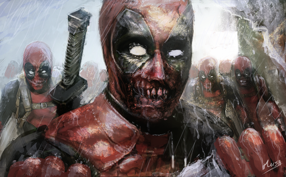 Deadpool zombies ( fan art ) by musane
