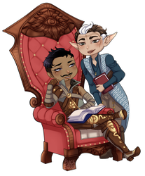 Commission - Dorian and Lavellan by blackberrehmoved