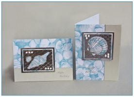 Blue and Silver Shell-themed Birthday Cards by Sarahorsomeone