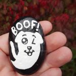 Ghost Dog - painted rock by Batnamz
