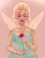 Marilyn Fairy Painting by dwightyoakamfan