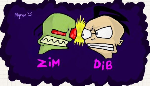 Zim vs. Dib by emenemomo