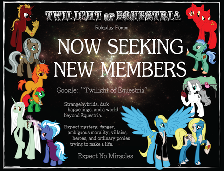 Twilight of Equestria Poster: Seeking New OCs! by bluebird-laughing