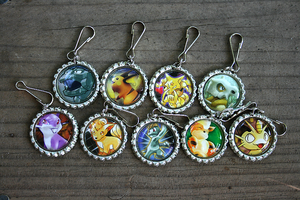 Pokemon Bottle Cap Keychains 2 by MythicalFolk