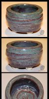 Turquoise Earth Swirl Bowl by leopardwolf