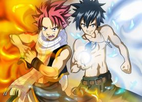 Natsu and Gray of Fairy Tail by Sersiso