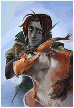 Elf and gryphon by Drkav
