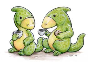 Hadrosaur Tea by ursulav