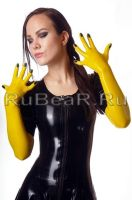 Yellow gloves, black nails by latex-rat