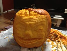Brain pumpkin by QueenAnneka