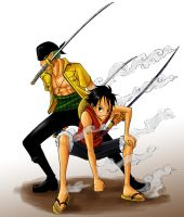 OP - Luffy and Zoro by Sanogirl