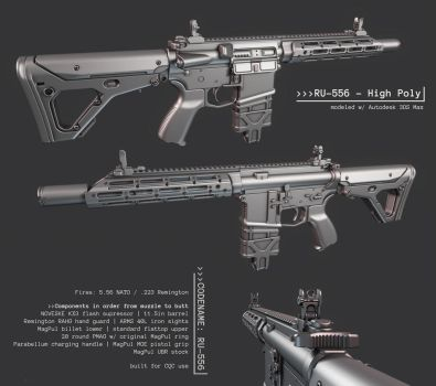 AR15 Custom - RU-556 High Poly Done by ImBrokeRU