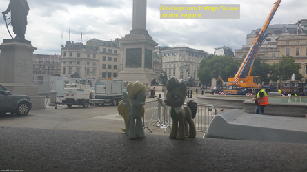 Derpy and Doctor Whooves in Trafalgar Square by Jacko247